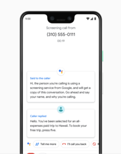 Google Pixel 3 call screening